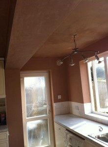 Re-skim to kitchen walls and ceiling after beam inserted