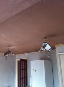 Kitchen ceiling re-skim over artex